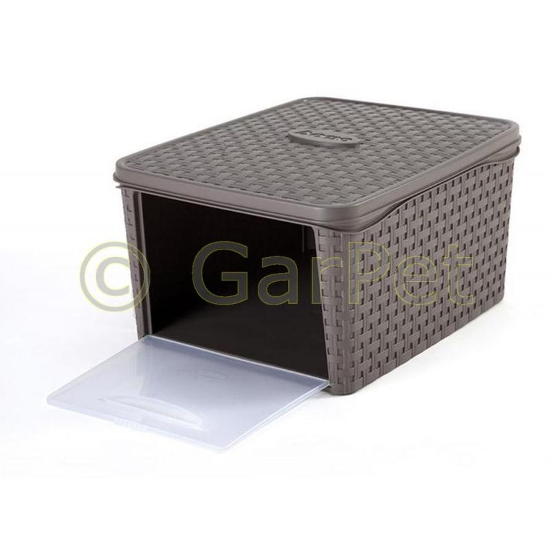 aufbewahrungsbox mit deckel rattan optik front ffnung 11 75. Black Bedroom Furniture Sets. Home Design Ideas